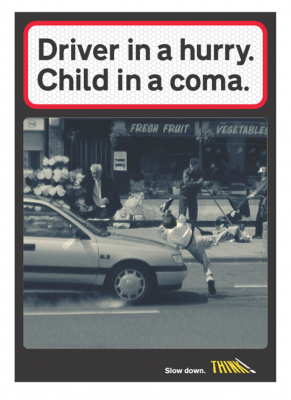 Driver in a hurry, Child in a coma poster